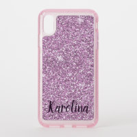 Pink glitter sparkle personalized mobile speck iPhone XS max case
