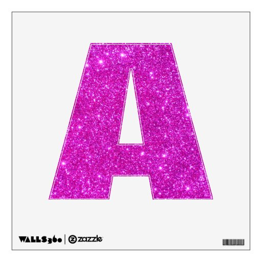 Pink glitter sparkle wall decal letter a zazzle for Pink glitter letters
