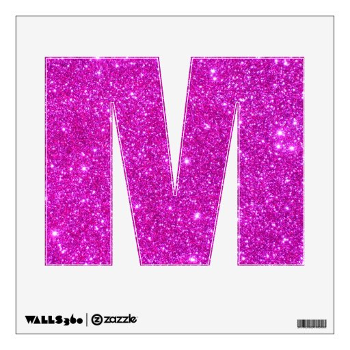 Pink glitter sparkle wall decal letter alphabet m zazzle for Pink glitter letters