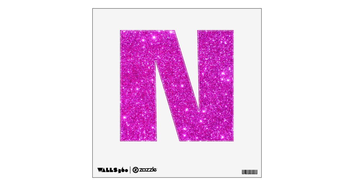 Pink glitter sparkle wall decal letter alphabet n zazzlecom for Pink glitter letters