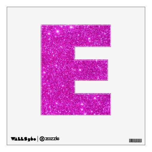 Pink glitter sparkle wall decal letters glittery e zazzle for Pink glitter letters