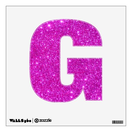 Pink glitter sparkle wall decal letters glittery g zazzle for Pink glitter letters