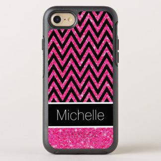 Pink Glitter Sparkles Black Chevron Stripe Pattern OtterBox Symmetry iPhone 7 Case