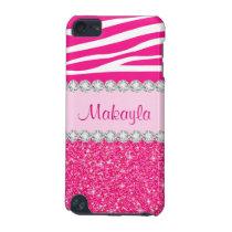 Pink Glitter Sparkles Zebra 5G iPod Touch Case