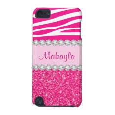 Pink Glitter Sparkles Zebra 5g Ipod Touch Case at Zazzle