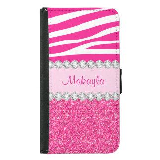 Pink Glitter Sparkles Zebra Galaxy 5 Wallet Case