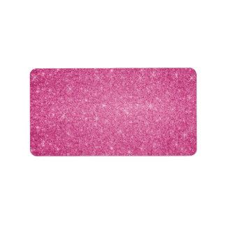 Pink glitter stars label
