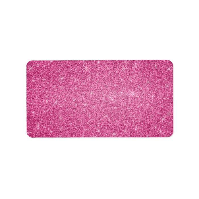 Pink Glitter Stars Label Zazzle