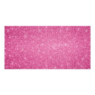 Pink glitter stars photo greeting card
