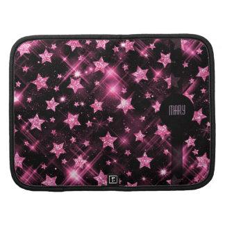 Pink Glitter Stars Folio Planners