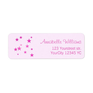 Pink glitter stars return address labels