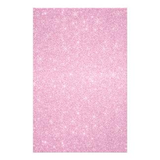 Pink glitter stars stationery