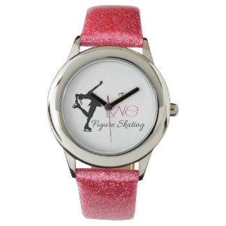 "Pink Glitter Strap ""I love figure skating"" watch"