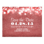 pink glitter string of lights save the date postcard