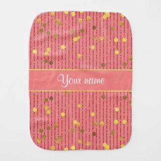 Pink Glitter Stripes Gold Confetti Burp Cloth