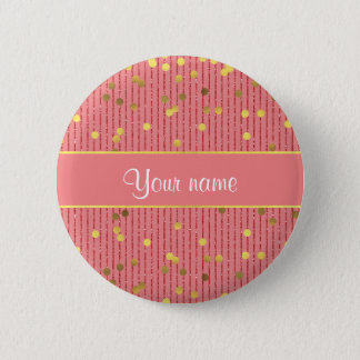 Pink Glitter Stripes Gold Confetti Pinback Button