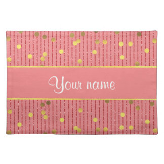 Pink Glitter Stripes Gold Confetti Placemat