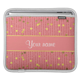 Pink Glitter Stripes Gold Confetti Sleeve For iPads