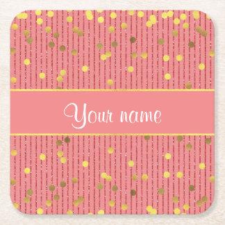 Pink Glitter Stripes Gold Confetti Square Paper Coaster