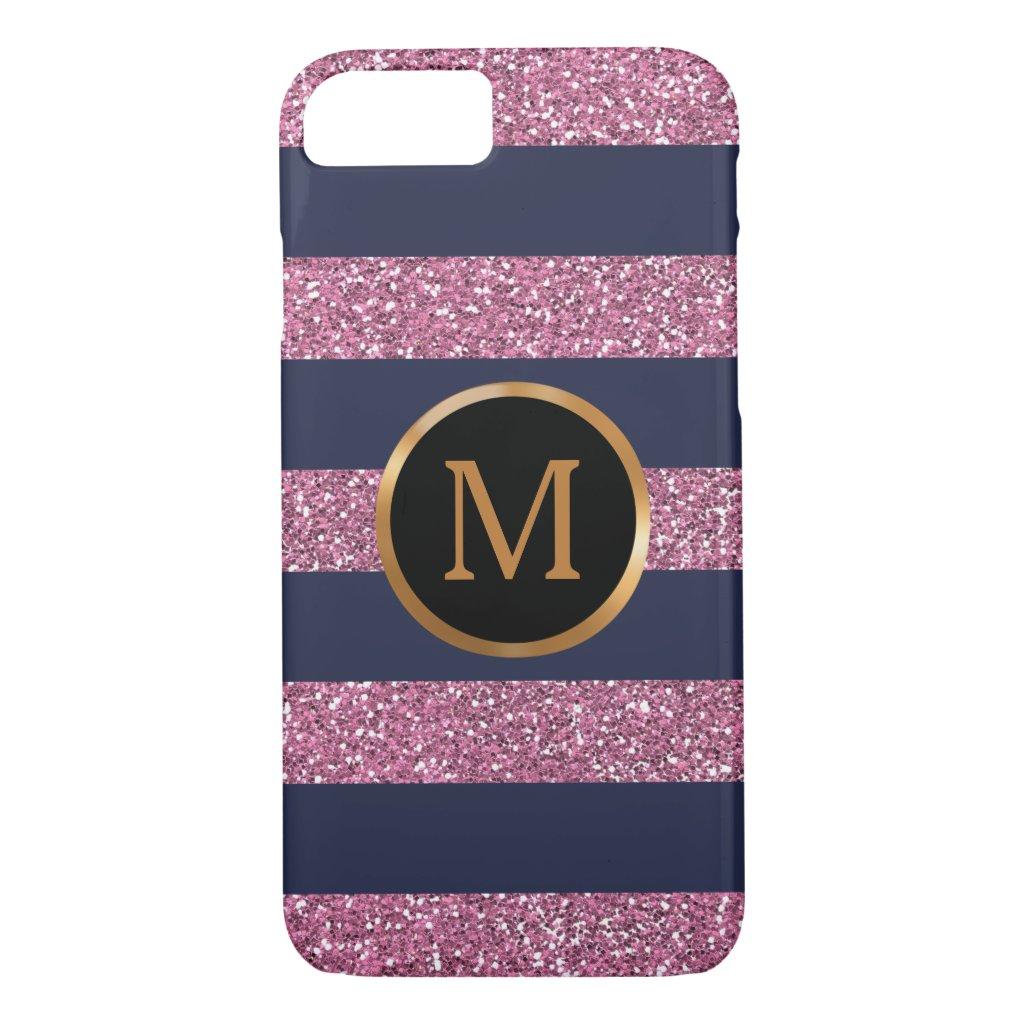 Pink Glitter Stripes, Gold Monogram iPhone 7 Case