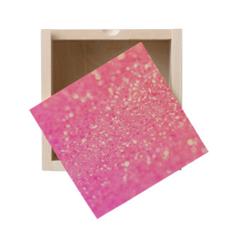 Pink Glitter Style Wooden Keepsake Box