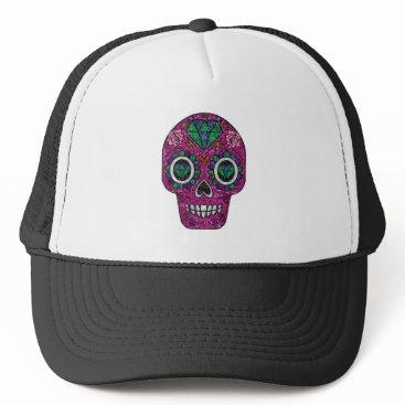 Halloween Themed pink glitter sugar skull trucker hat