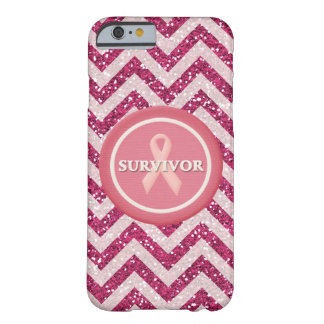 Pink Glitter Survivor Pink Ribbon iPhone 6 Case