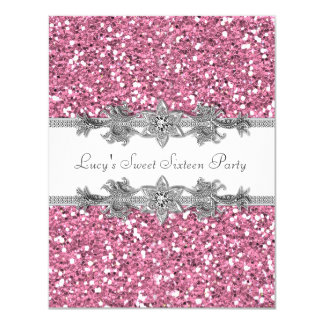 Pink Glitter Sweet 16 Party Card