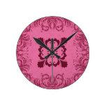 Pink Glitter Swirl Round Wall Clocks