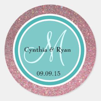 Pink Glitter & Teal Green Wedding Monogram Classic Round Sticker