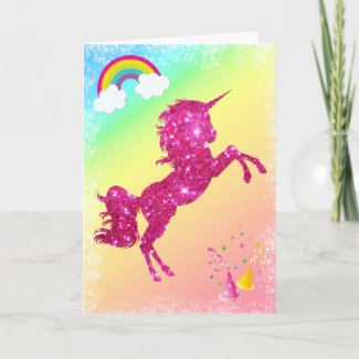 Pink Glitter Unicorn Card