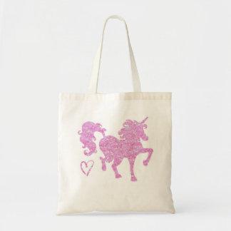 Pink glitter unicorn silhouette tote bag small