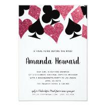 Pink Glitter Vegas Theme Bachelorette Party Invite