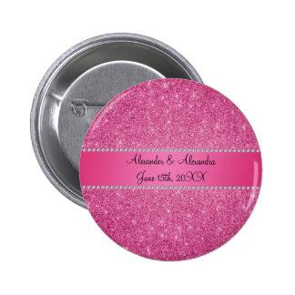 Pink glitter wedding favors button