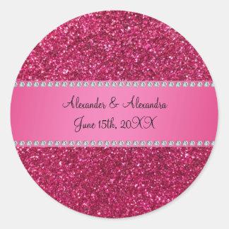Pink glitter wedding favors classic round sticker
