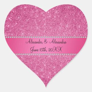 Pink glitter wedding favors heart sticker