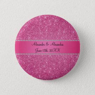 Pink glitter wedding favors pinback button