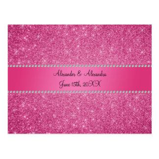 Pink glitter wedding favors postcard