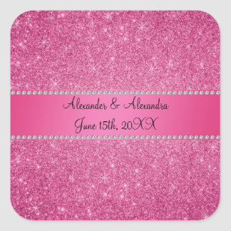Pink glitter wedding favors square sticker