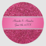 Pink glitter wedding favors stickers