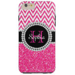 Pink Glitter White Chevron T iPhone 6 Plus Case