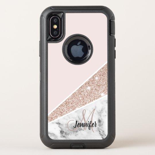 the latest 0e056 272ac Pink Glitter White Marble Monogram Phone Case