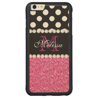 Pink Glitter White Polka Dots Monogrammed 3 Carved® Maple iPhone 6 Plus Bumper Case