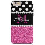 Pink Glitter White Polka Dots Monogrammed 3 Tough iPhone 6 Plus Case