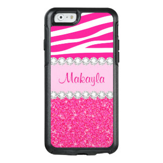 Pink Glitter White Zebra OtterBox iPhone 6/6s Case