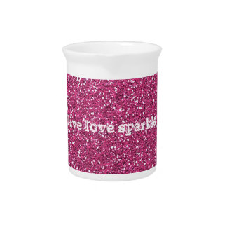Pink Glitter with Live Love Sparkle Quote Beverage Pitcher