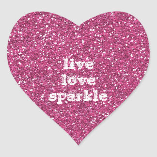 Pink Glitter with Live Love Sparkle Quote Heart Stickers