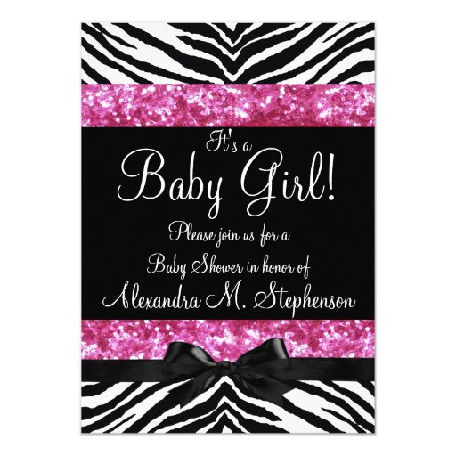 Pink Glitter Zebra Bow Baby Shower Girl 5x7 Paper Invitation Card