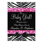 Pink Glitter Zebra Bow Baby Shower Girl Invites