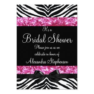Pink Glitter Zebra Bow Bridal Shower Card